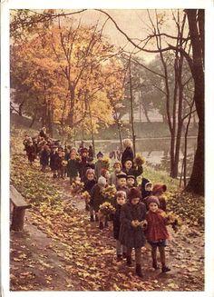 Children on a leaf gathering field trip. 1963