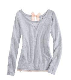 Aerie Bow-Back Sweatshirt in Medium Heather Grey