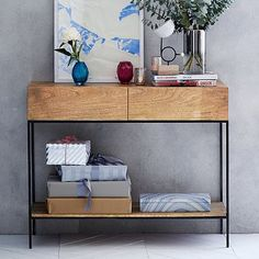 Rustic Storage Console - Raw Mango #westelm. For alcove.