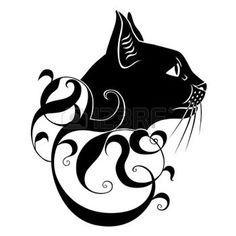 silhouette chat: décoration de chat noir Illustration
