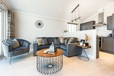 Quindi - Holiday Home & Leisure Lodge Collection by Prestige Homeseeker Luxury Mobile Homes, Living Area, Living Spaces, Open Plan Apartment, Double Sliding Doors, Contemporary Style Homes, Lodge Style, Master Bedroom Design, Open Plan Living