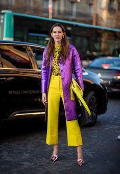 Estelle Pigault is seen wearing yellow cropped flared pants, top with animal print, pink coat outside Rochas during Paris Fashion Week Womenswear Fall/Winter on February 2019 in Paris,. Get premium, high resolution news photos at Getty Images Fashion Week, Look Fashion, Paris Fashion, Fashion Outfits, Womens Fashion, Feminine Fashion, Daily Fashion, Fashion Fashion, Fashion Ideas