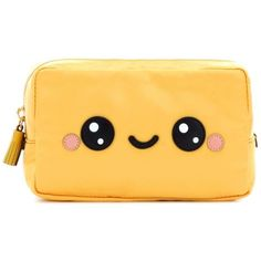 Anya Hindmarch Kawaii Cosmetic Pouch found on Polyvore featuring beauty products, beauty accessories, bags & cases, bags, clutches, yellow and anya hindmarch