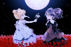 """Sailor Moon: SuperS"" fan art - Little Princess Serenity and Little Queen Nehelenia. Sailor Moons, Sailor Moon Crystal, Cristal Sailor Moon, Sailor Moon Villains, Arte Sailor Moon, Sailor Moon Fan Art, Sailor Moon Usagi, Sailor Jupiter, Sailor Venus"