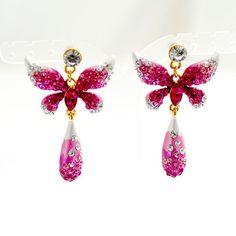 Swarovski Crystal EARRINGS | Pink Butterfly Necklace, Drop Earrings Crystal Jewelry Set - EveAllure Swarovski Crystal Earrings, Crystal Jewelry, Butterfly Necklace, Pink Butterfly, Jewelry Sets, Brooch, Drop Earrings, Drop Earring