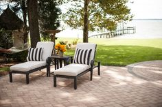 When your patio is this beautiful, spending some quality time outdoors will become your new escape. We love the charm and warmth Eagle Bay's KingsLand Traditional pavers add to this patio.
