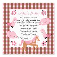 Cute Pink Cowgirl Birthday Party Invitation #cards #invite #pretty