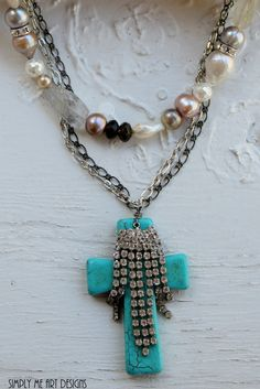 Vintage Rhinestone and Turquoise Cross Baroque by simplymeart, $82.00