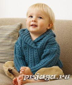 Пуловер спицами мальчику
