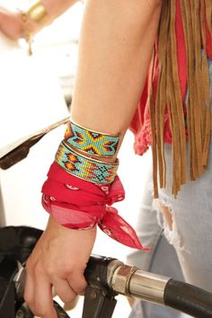 {junk gypsy co.} Love the beaded cuffs and bandana