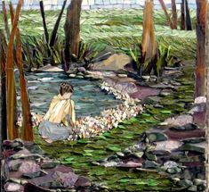 Stunning Mosaic Scene - Stained Glass, Stone, & Gemstones