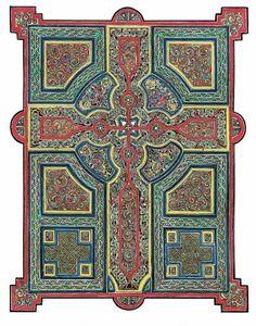 """Cross Carpet Page Number Three"" X Celtic Art Giclee Print by Beryl Wells Hamilton Medieval Manuscript, Medieval Art, Illuminated Manuscript, Illuminated Letters, Celtic Symbols, Celtic Art, Celtic Knots, Celtic Crosses, Celtic Patterns"