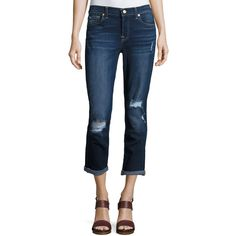 7 For All Mankind Destroyed Skinny Jeans ($103) ❤ liked on Polyvore featuring jeans, dark blue skinny jeans, blue skinny jeans, super skinny jeans, blue ripped jeans and skinny jeans