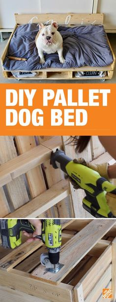 Keep your pup by your side with this DIY pallet dog bed on wheels. This cozy spot for your best bud is completely customizable. Cut the pallets to fit the size of your dog and top it all off with storage and a personalized headboard. Click to get the simple step-by-step tutorial on our blog.