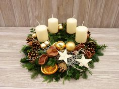 Adventskranz creme gold Adventskränze Adventsgestecke | Etsy Christmas Advent Wreath, Christmas Mason Jars, Xmas Wreaths, Christmas Flowers, Christmas Centerpieces, Xmas Decorations, Simple Christmas, Advent Wreaths, Christmas Tables