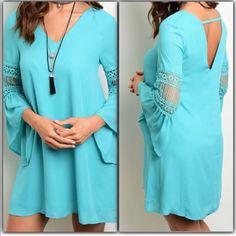 Sale Stunning Tiffany Blue V-Neck Dress