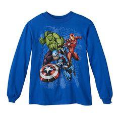 Boys 4-7 Marvel Avengers Iron Man, Captain America & Hulk Long Sleeve Graphic Tee, Boy's, Size: