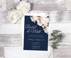 Beautifully designed floral Wedding Invitation with a contemporary layout and stylish fonts.  Shop the range at www.featherandgracedesign.co.uk.