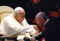 JPII and Pope Francis! Very nice picture.