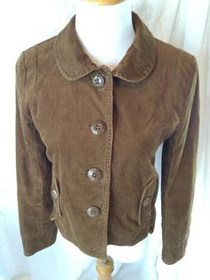 J. Crew Women's Jacket Sz 4 Brown Corduroy Stretch Large Buttons Rounded Collar