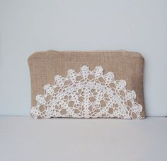 Burlap Vintage Doily Zipper Pouch Clutch in White