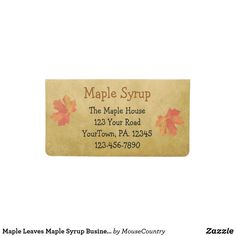 Maple Leaves Maple Syrup Business Checkbook Cover by Sandi Frunzi of MouseFxArt.Com (Mouse Country Store)