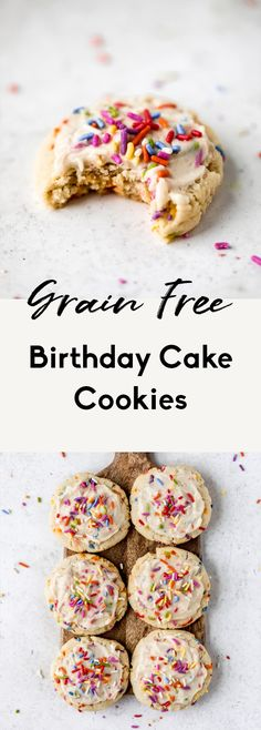 Incredible, soft grain free birthday cake cookies made with a mix of coconut and almond flour and topped with a luscious vanilla buttercream. These easy, healthy birthday cake cookies are gluten free and low carb but are full of that delicious birthday cake flavor you know and love. #cookies #birthday #birthdaycake #glutenfree #grainfree #glutenfreedessert #dairyfree #healthydessert Gluten Free Birthday Cake, Healthy Birthday Cakes, Birthday Cake Flavors, Cookie Cake Birthday, Birthday Recipes, Birthday Ideas, Healthy Cookie Recipes, Paleo Treats, Healthy Cookies