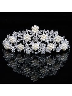 Gorgeous Alloy with Pearls and Rhinestiones Wedding Bridal Tiara