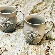 New daffodil mugs coming up!🌸🌼🌺#pottery #wheelthrowing #wheelthrown #handmadepottery #pottersofinstagram #potterylove #ceramics #ceramica #makersmovement #porcelain #keramika #potterie #keramik #ceramicstudio #ceramicart #ceramicartist #artdesign #interiordesign #homedecor #contemporaryceramics #pedestalbowl #thrownandaltered #handcarved #designermaker #artisan #instapottery #makersgonnamake #potterylover #sharingiscaring #artisan #mug