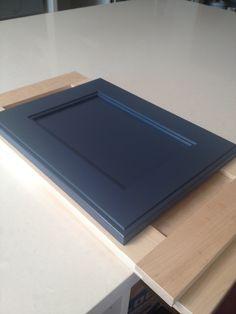 Ikea cabinets with custom shaker doors painted  Benjamin Moore Newburyport Blue