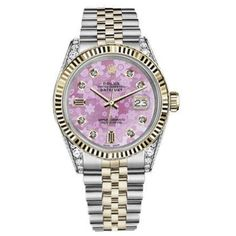 Pre-owned Rolex Datejust Two Tone Pink Flower Mother Of Pearl Dial... ($5,499) ❤ liked on Polyvore featuring jewelry, watches, diamond watches, rolex watches, pre owned watches, i love jewelry and diamond jewelry