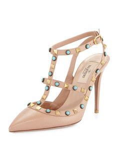 Rockstud+Cabochon+Leather+100mm+Pump,+Soft+Noisette/Turquoise+by+Valentino+at+Neiman+Marcus.