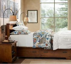 "Sumatra Storage Bed | Pottery Barn King/Cal. King Storage Bed: 77"" wide x 88"" long x 46"" high"