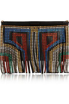 Miu Miu | Swarovski crystal-embellished fringed leather clutch | NET-A-PORTER.COM