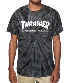 7622f30333ac3b A black and grey spider tie dye wash is accented with a white Thrasher  Skateboard Magazine