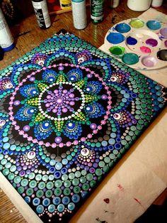 mandala painting with dots Mandala Art, Mandala Design, Mandala Canvas, Mandala Rocks, Mandala Painting, Mandala Pattern, Pattern Art, Dot Patterns, Dot Art Painting