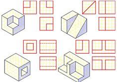 Iq Kids, Isometric Drawing Exercises, Orthographic Drawing, Architecture Drawing Art, Geometric Drawing, Isometric Design, Technical Drawing, 3d Projects, Bookcases