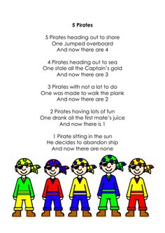 Five Pirates (counting rhymes) by Ibuzzybea - Teaching Resources - TES Preschool Pirate Theme, Pirate Activities, Preschool Songs, Preschool Lessons, Kids Songs, Pirate Songs For Kids, Counting Rhymes, Pirate Day, Pirate Birthday