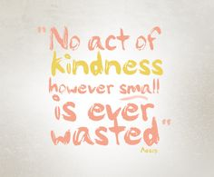 No act of kindness however small, is ever wasted.