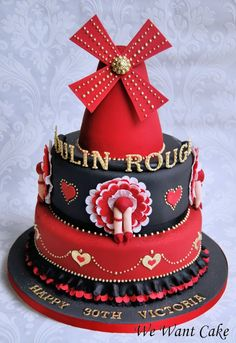 moulin rouge cake- I love the Moulin Rouge! One birthday, before I start really sagging, I want to have a Moulin Rouge/Montmarte themed birthday party. So maybe next year? Pretty Cakes, Cute Cakes, Beautiful Cakes, Amazing Cakes, Take The Cake, Love Cake, Fondant Cakes, Cupcake Cakes, Gateaux Cake
