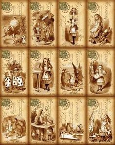 Details about  12 ALICE IN WONDERLAND - SEPIA 155 lb SCRAPBOOK PAPER CRAFT CARD TAG LAMINATED