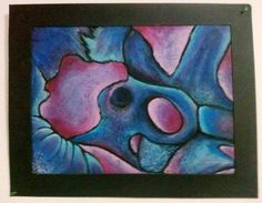 """Title: Abstract Bones About: Something I made a few years ago for class. Georgia O'keefe inspired using scattered cow bones and a little imagination. Medium: Oil Pastel, unknown brand Paper: Unknown Size: 19""""x24"""" Date: September 23, 2010  #art #coloring #oilpastels #pastels #abstract #bones #georgia #o'keefe #inspired #fushia #blues #violets #texture #creativityHasNoLimit"""