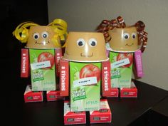 Juicebox Valentines Healthy Girl & Boy Robots - I did these for my class. Applesauce, small juicebox, mini box raisins, small sticker boxes for arms, curling ribbbon for girl hair, tape, google eyes, hot glue gun, black marker face. Tape arms and ribbon, hot glue rest and draw mouth. Too cute!