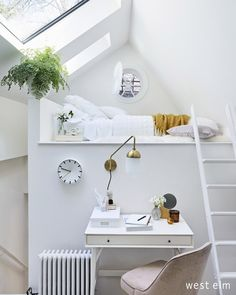Loft Bedroom: White lofted bed with a small home office below. Loft Bedroom: White lofted bed with a . Home Office Furniture, Furniture Decor, Living Room Furniture, Loft Spaces, Small Spaces, Small Apartments, White Loft Bed, Bed Goals, Ideas Habitaciones