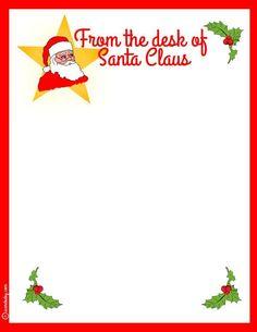 From Free Santa LettersNet  Printable Santa Letters