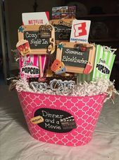 Dinner and a movie date night gift baskets, gift card basket, movie basket gift Date Night Gift Baskets, Movie Basket Gift, Gift Card Basket, Movie Night Gift Basket, Date Night Gifts, Movie Gift, Fundraiser Baskets, Raffle Baskets, Themed Gift Baskets