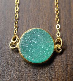 Green Druzy Gold Necklace by friedasophie on Etsy, $49.00