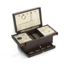 Jewelry Box Wallace Dark Walnut Expandable Compartment Storage Organizer Gift