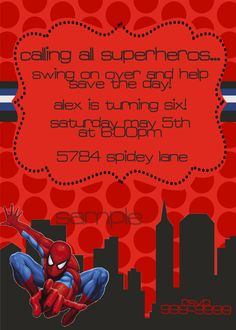 Spiderman Birthday Invitation Etsy.