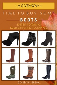 It's that time of year and you need boots! Bonbon Break is giving a pair away via a $200 Zappos gift card!